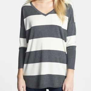 Joie Chyanne Wide Stripe V Neck Sweater